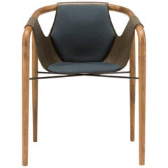 Saint Luc 'Hamac' Dining Chair in Navy and Brown by J.P Nuel, 1stdibs, New York