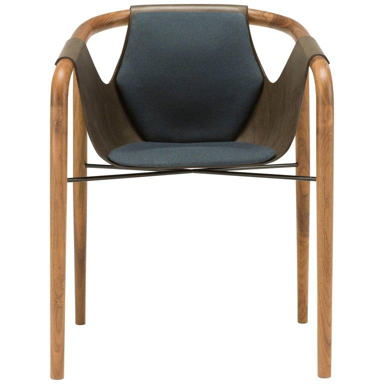 Saint Luc 'Hamac' Dining Chair in Navy and Brown by J.P Nuel For Sale