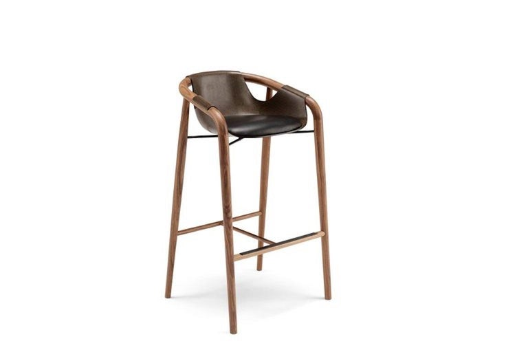 Modern Saint Luc 'Hamac' High Stool in Brown by J.P. Nuel, 1stdibs New York For Sale