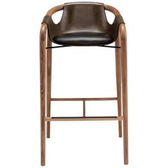 Saint Luc 'Hamac' High Stool in Brown by J.P. Nuel, 1stdibs New York