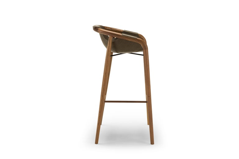 Modern Saint Luc 'Hamac' High Stool in Brown by J.P. Nuel For Sale