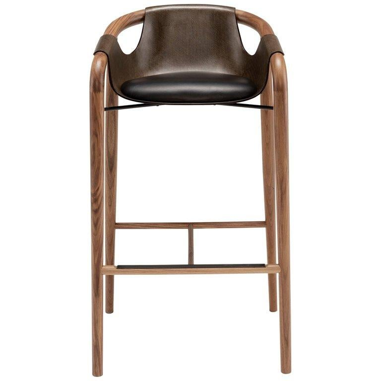 Saint Luc 'Hamac' High Stool in Brown by J.P. Nuel For Sale