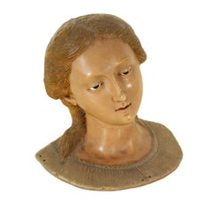Saint Lucia Wax Bust Manufactured in Sicily, 18th Century