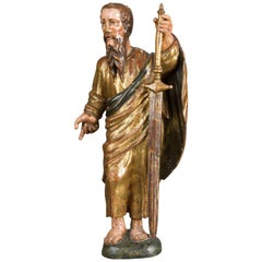 Saint Paul, Carved and Polychromed Wood, Spanish School, 16th Century