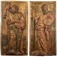 """Saint Peter"" and ""Saint Paul"", Polychromed Wood Relief, Spain, 16th Century"