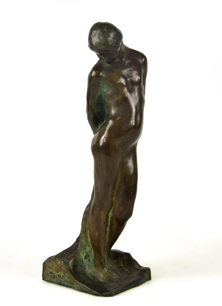 Saint Sebastian is an original bronze sculpture realized by Giovanni Nicolini (1872-1956) in the 1950s.  Beautiful bronze sculpture representing the Saint Sebastian.  Signed on base.  This object is shipped from Italy. Under existing