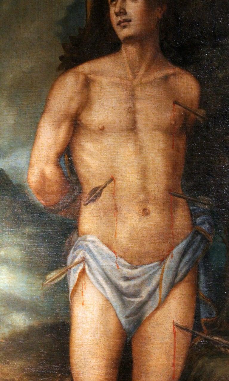 Baroque Saint Sebastian Spanish School 17th Century Oil on Canvas Religious Painting For Sale