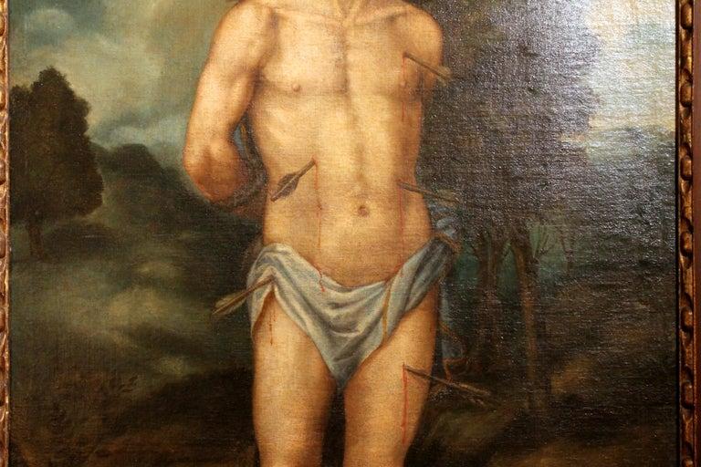 18th Century and Earlier Saint Sebastian Spanish School 17th Century Oil on Canvas Religious Painting For Sale