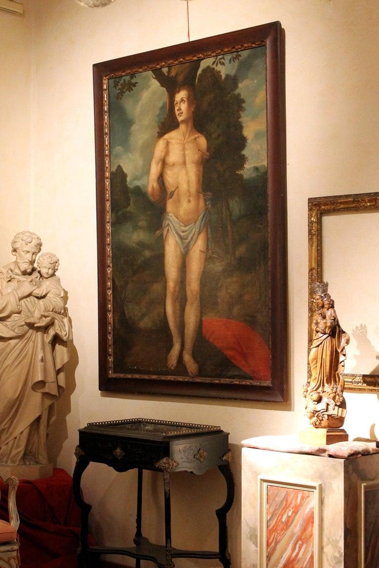Saint Sebastian Spanish School 17th Century Oil on Canvas Religious Painting For Sale 1
