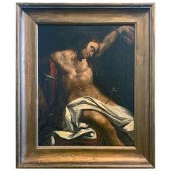 """Saint Sebastian,"" Unusual Depiction of Nude Figure, Oil on Canvas"