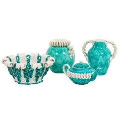 Sainte-Radegonde Factory, Blue and White Tableware in Ceramic, 1950s