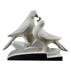 Sainte Radegonde French Art Deco Ceramic Pigeons, circa 1935