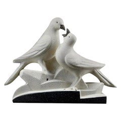Sainte Radegonde French Art Deco Ceramic Pigeons, circa 1935