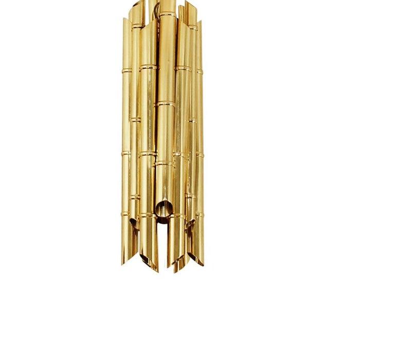 Portuguese Saki Pendant Light in Polished Brass For Sale