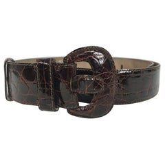 Saks 5th Ave. Rich Brown Caiman Crocodile Contour Belt Large
