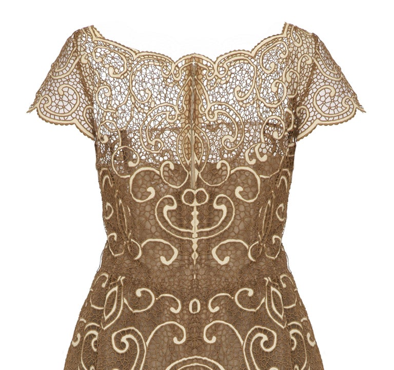 Brown Saks 5th Avenue 1960s Samuel Winston Embroidered Lace Dress For Sale