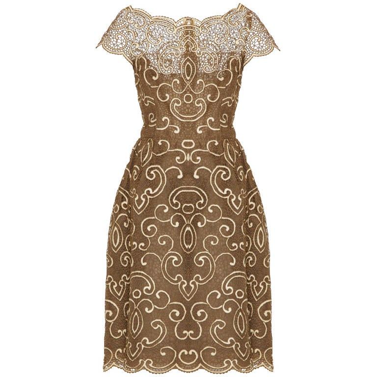 Saks 5th Avenue 1960s Samuel Winston Embroidered Lace Dress For Sale
