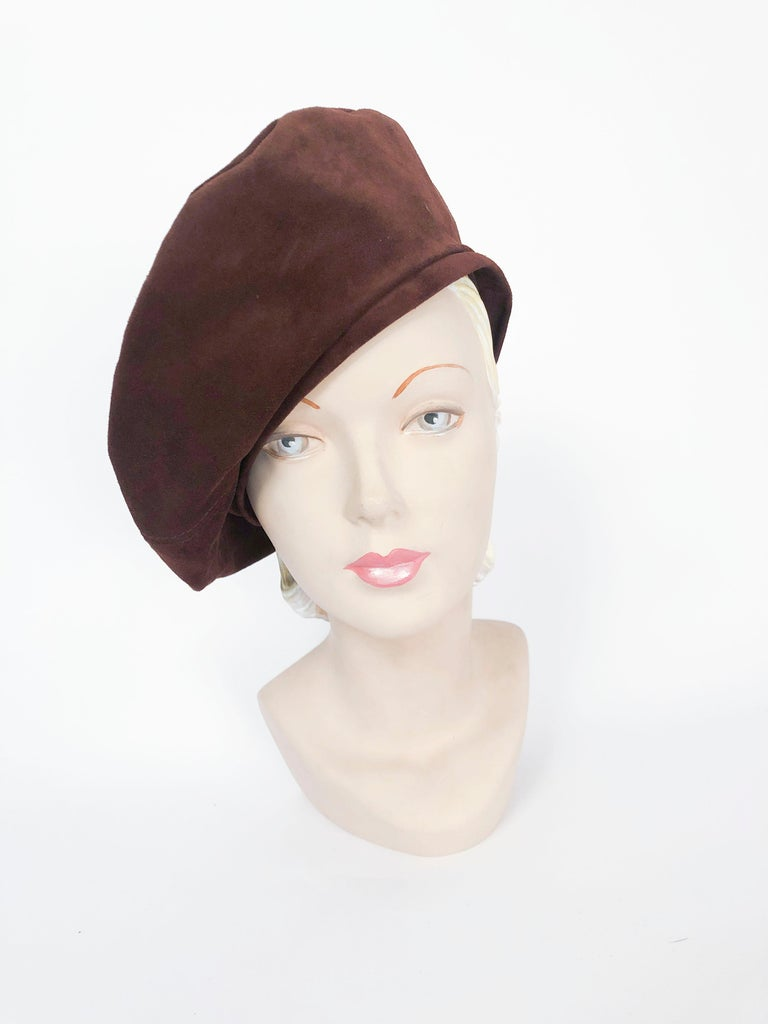 Saks Fifth Ave Chocolate Brown Suede Beret with gros-grain hat band.