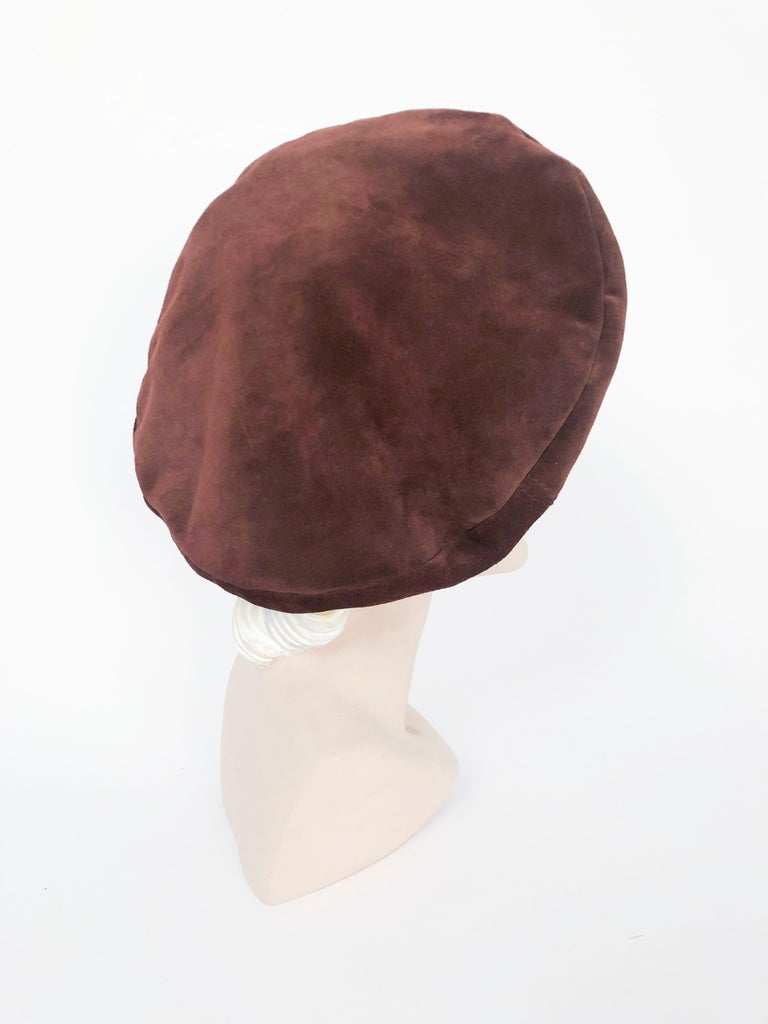 Beige Saks Fifth Ave Brown Suede Beret For Sale