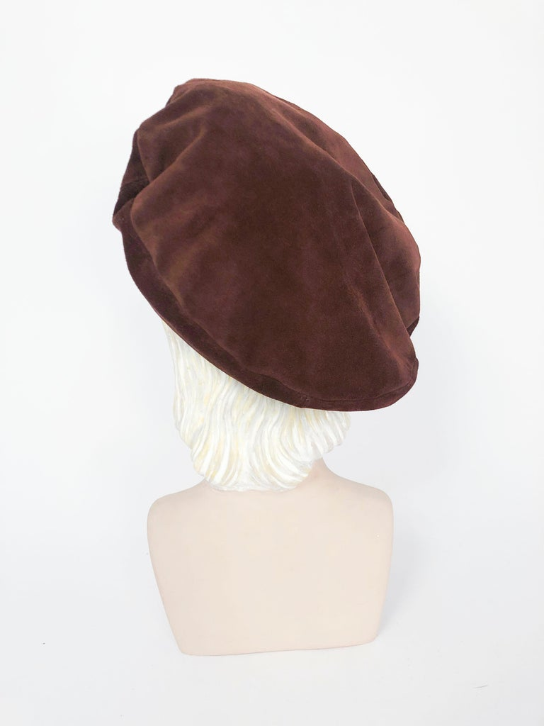 Saks Fifth Ave Brown Suede Beret In Good Condition For Sale In San Francisco, CA