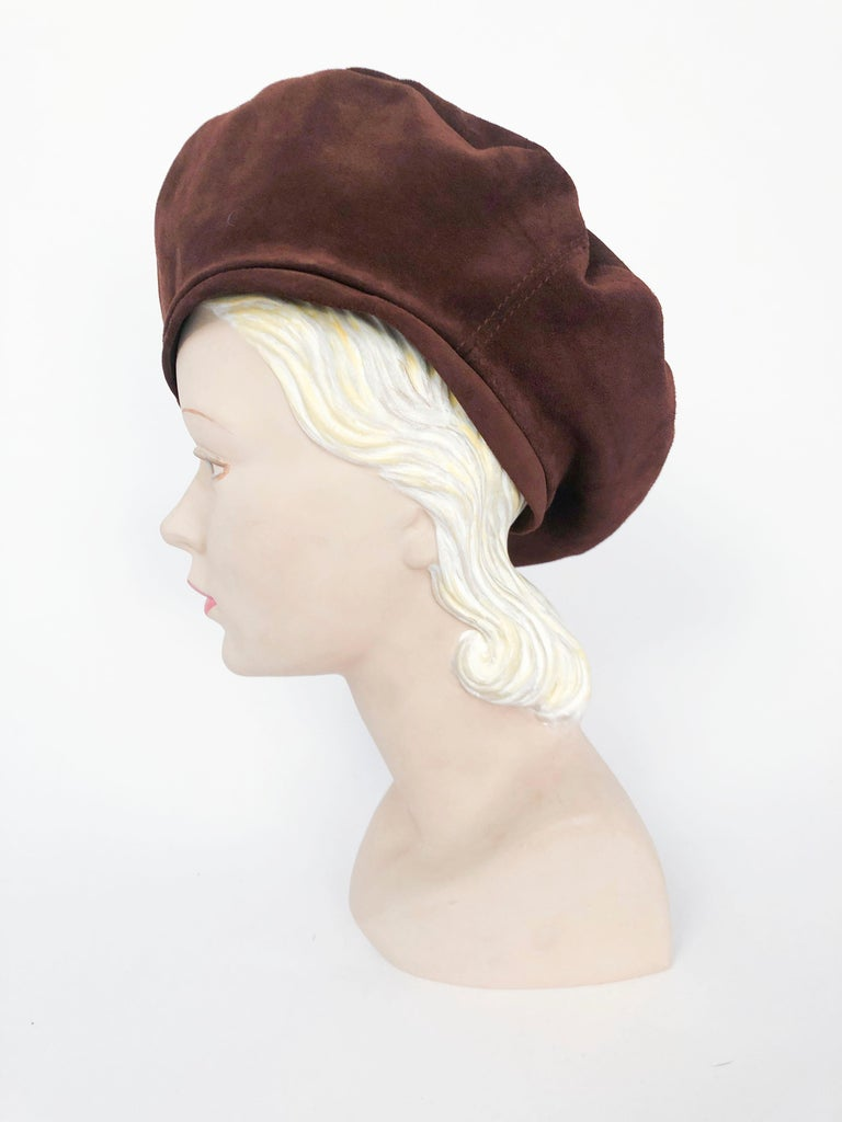 Women's Saks Fifth Ave Brown Suede Beret For Sale
