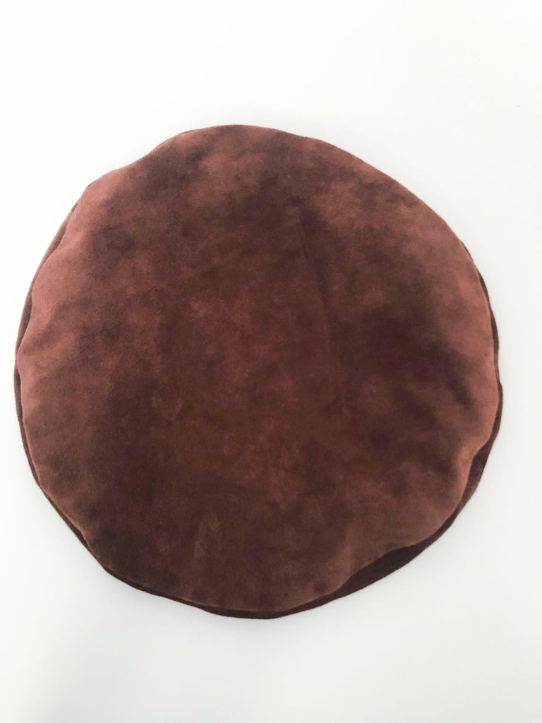 Saks Fifth Ave Brown Suede Beret For Sale 1