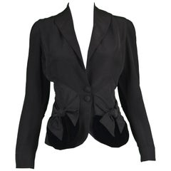 Saks Fifth Avenue 1950s Vintage Black Faille & Velvet  Bow Detail Women's Jacket