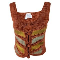 Saks Fifth Avenue 1970s Vintage Womens Suede & Wool Crochet Top