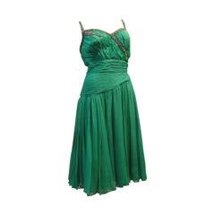Saks Fifth Avenue 60s Beaded Jade Chiffon Cocktail Dress
