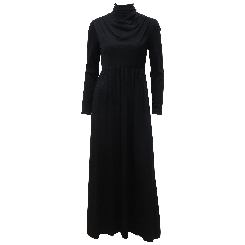 Saks Fifth Avenue Black Jersey Maxi Dress, C.1970