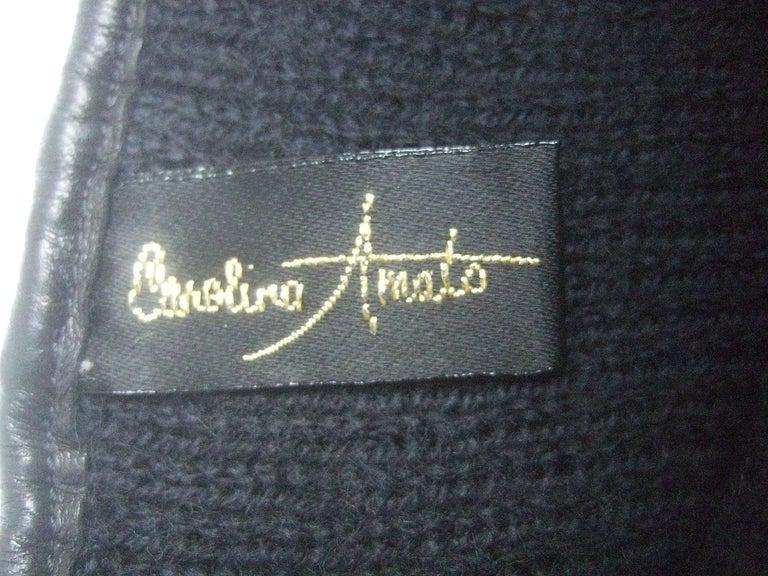 Saks Fifth Avenue Chic Avant-Garde Black Leather & Suede Trim Gloves c 1980s For Sale 10