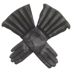 Saks Fifth Avenue Chic Avant-Garde Black Leather & Suede Trim Gloves c 1980s