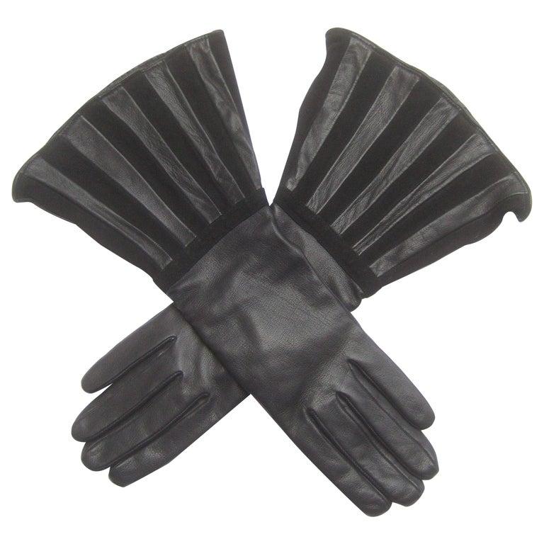 Saks Fifth Avenue Chic Avant-Garde Black Leather & Suede Trim Gloves c 1980s For Sale