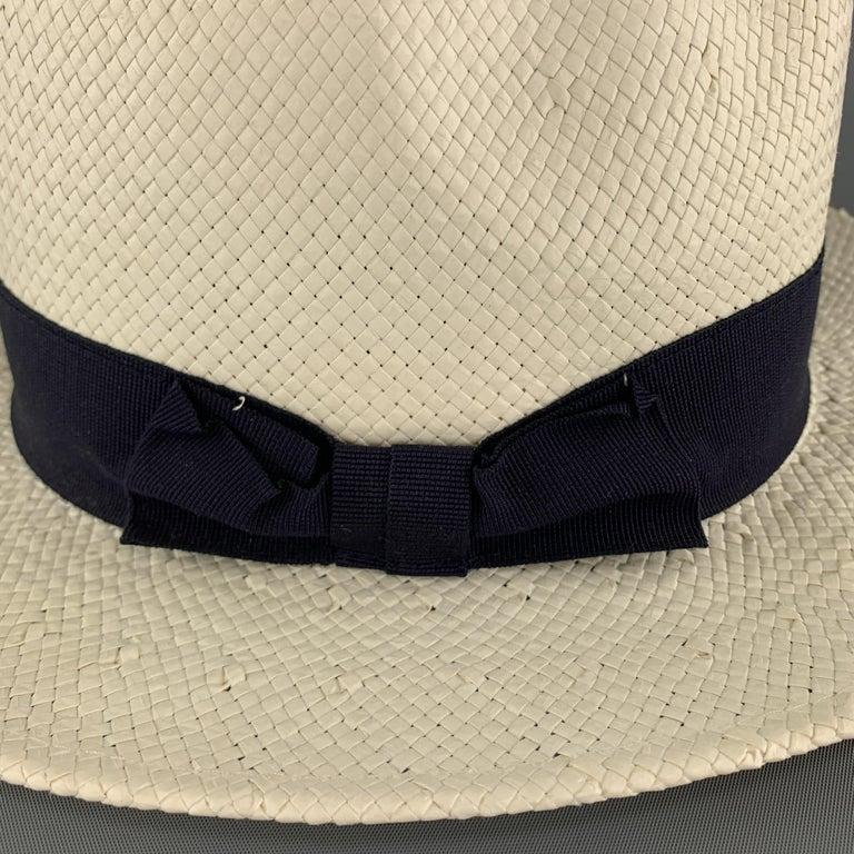 Beige SAKS FIFTH AVENUE Cream Woven Straw Navy Stripe Fedora For Sale