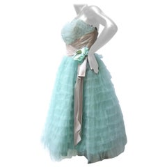 Saks Fifth Avenue Frothy Robin's Egg Pale Blue Tulle Dress c 1950s