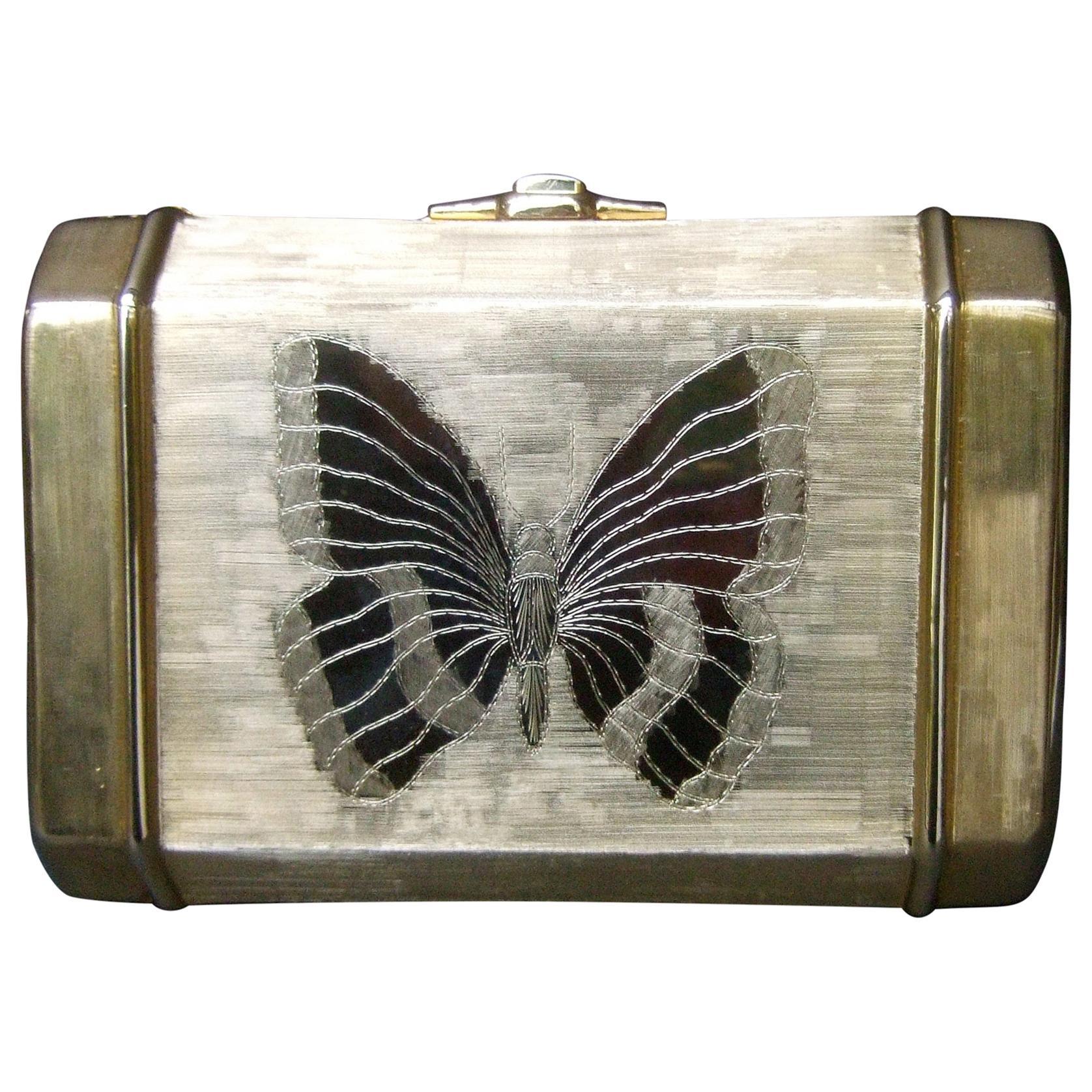 Saks Fifth Avenue Gilt Metal Butterfly Minaudière Evening Bag c 1970s