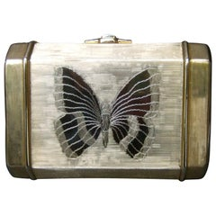 Saks Fifth Avenue Gilt Metal Butterfly Minaudière Evening Bag c 1970s