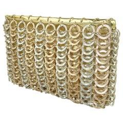 Saks Fifth Avenue Gold Silver Chain Mail Style Clutch Handbag, 1960's