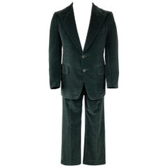 SAKS FIFTH AVENUE Green Velvet Suit - Size US 38 Vintage