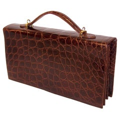 Saks Fifth Avenue Italian Brown Alligator Embossed Leather Handbag, 1970's