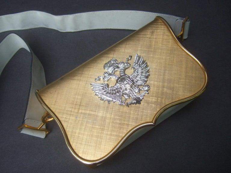 Saks Fifth Avenue Italian Gilt Metal Eagle Emblem Leather Shoulder Bag c 1970s For Sale 5