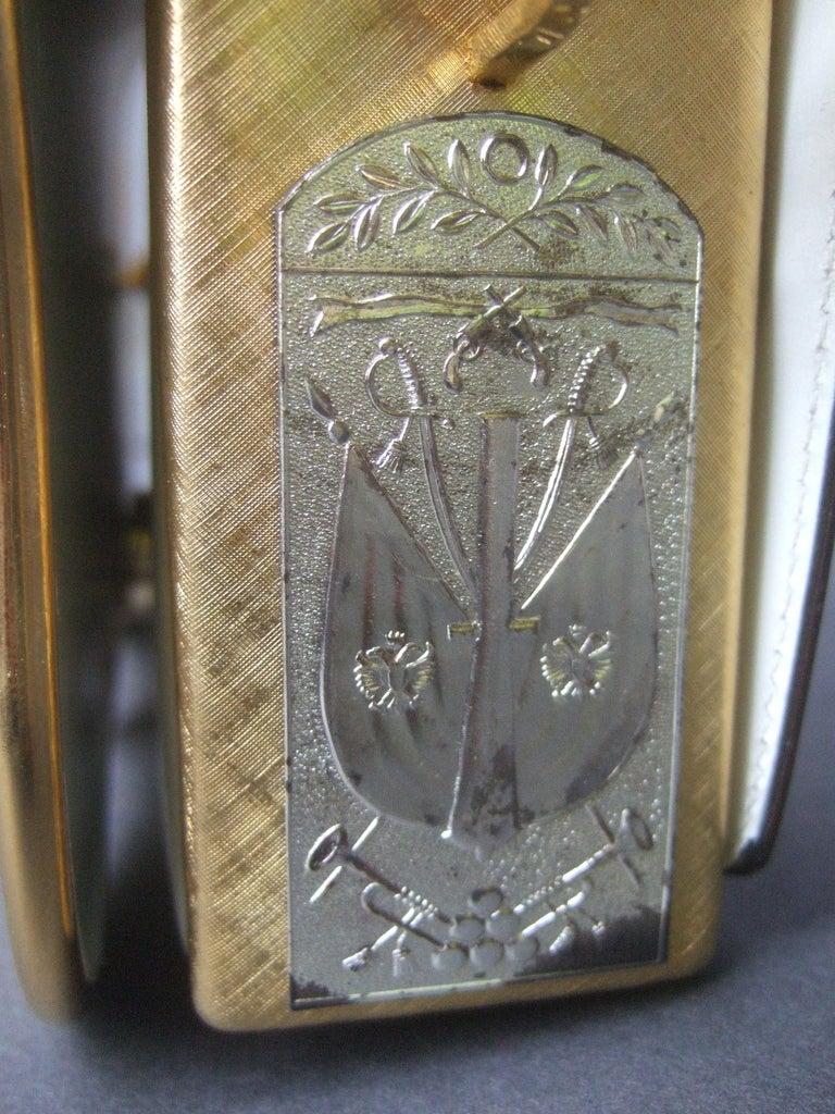 Saks Fifth Avenue Italian Gilt Metal Eagle Emblem Leather Shoulder Bag c 1970s For Sale 6