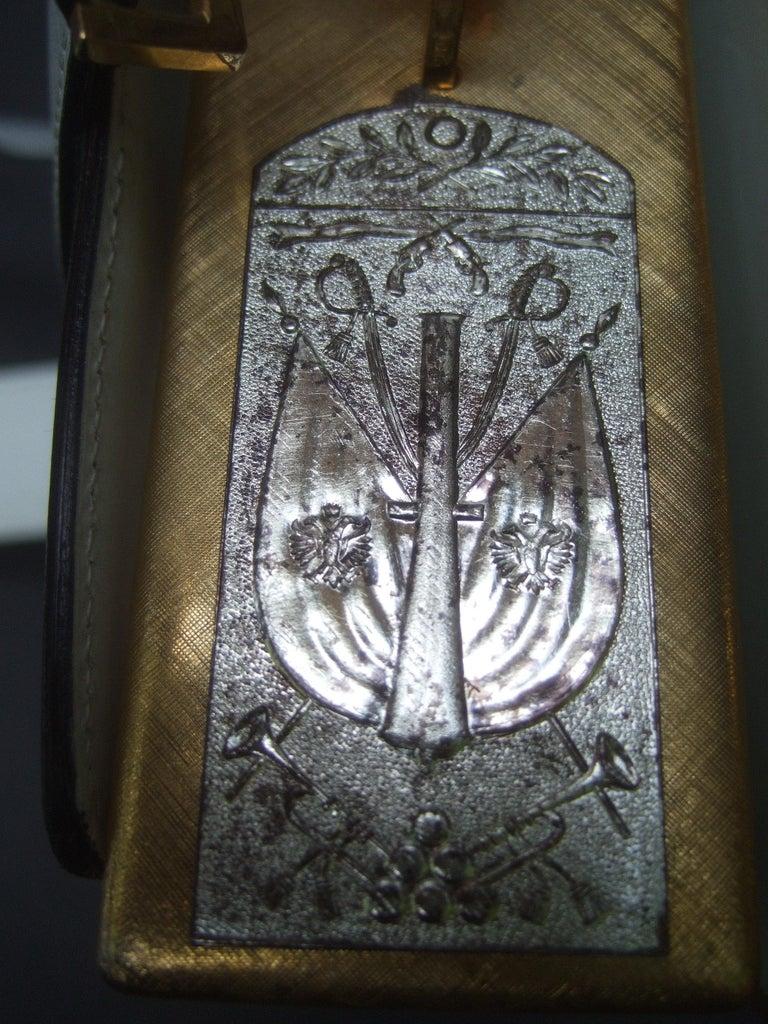 Saks Fifth Avenue Italian Gilt Metal Eagle Emblem Leather Shoulder Bag c 1970s For Sale 7