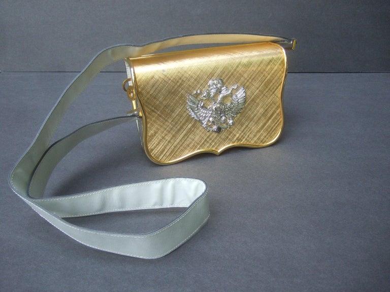 Saks Fifth Avenue Italian Gilt Metal Eagle Emblem Leather Shoulder Bag c 1970s For Sale 9
