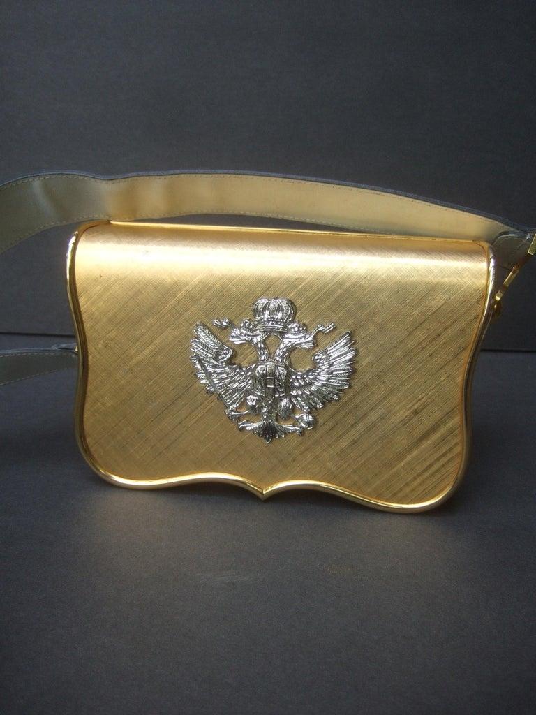 Saks Fifth Avenue Italian Gilt Metal Eagle Emblem Leather Shoulder Bag c 1970s For Sale 13