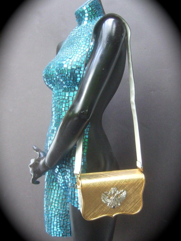 Brown Saks Fifth Avenue Italian Gilt Metal Eagle Emblem Leather Shoulder Bag c 1970s For Sale