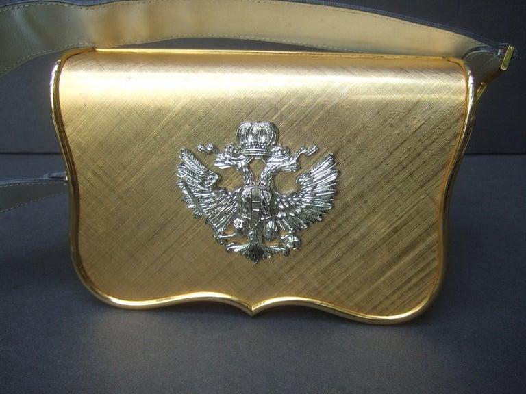 Women's Saks Fifth Avenue Italian Gilt Metal Eagle Emblem Leather Shoulder Bag c 1970s For Sale
