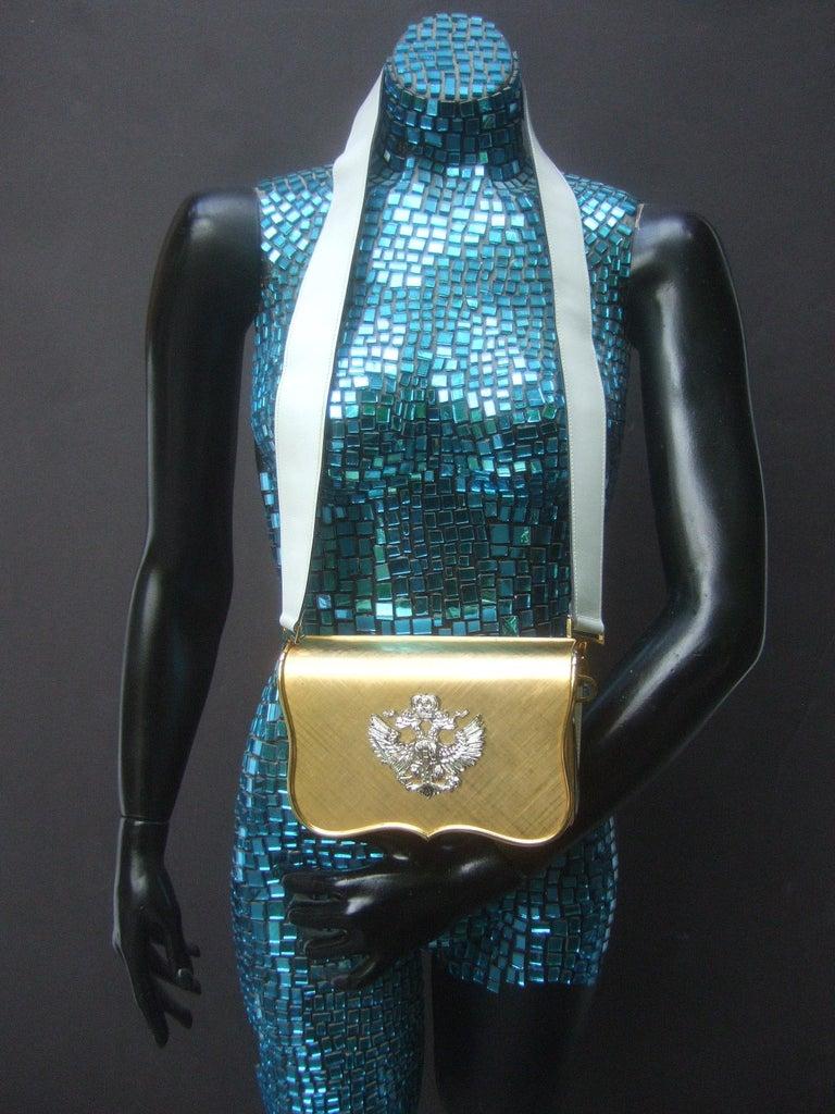 Saks Fifth Avenue Italian Gilt Metal Eagle Emblem Leather Shoulder Bag c 1970s For Sale 1