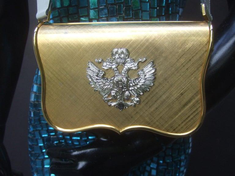 Saks Fifth Avenue Italian Gilt Metal Eagle Emblem Leather Shoulder Bag c 1970s For Sale 2