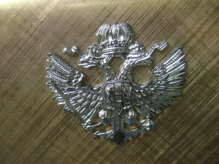 Saks Fifth Avenue Italian Gilt Metal Eagle Emblem Leather Shoulder Bag c 1970s For Sale 3